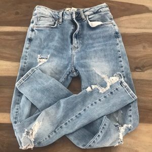 Light colored with distressing jeans